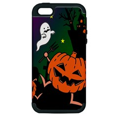 Happy Halloween Apple Iphone 5 Hardshell Case (pc+silicone) by Mariart