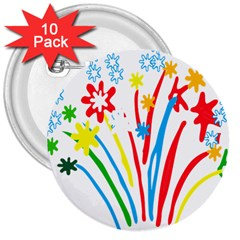 Fireworks Rainbow Flower 3  Buttons (10 Pack)  by Mariart