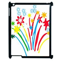 Fireworks Rainbow Flower Apple Ipad 2 Case (black) by Mariart