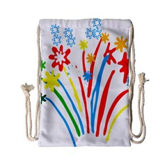 Fireworks Rainbow Flower Drawstring Bag (small) by Mariart