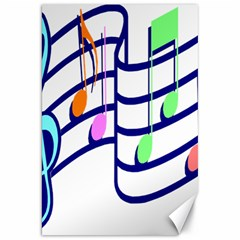 Music Note Tone Rainbow Blue Pink Greeen Sexy Canvas 20  X 30   by Mariart