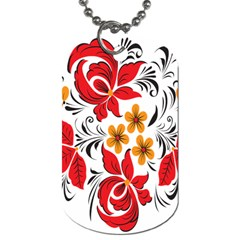 Flower Red Rose Star Floral Yellow Black Leaf Dog Tag (two Sides) by Mariart
