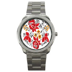 Flower Red Rose Star Floral Yellow Black Leaf Sport Metal Watch by Mariart