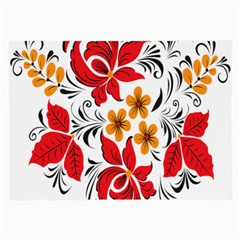 Flower Red Rose Star Floral Yellow Black Leaf Large Glasses Cloth (2 Side) by Mariart