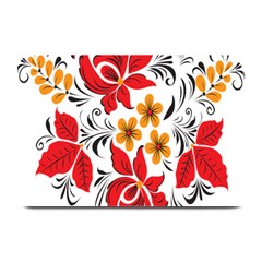 Flower Red Rose Star Floral Yellow Black Leaf Plate Mats by Mariart