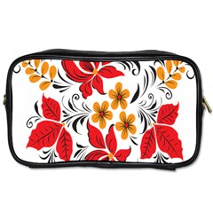 Flower Red Rose Star Floral Yellow Black Leaf Toiletries Bags by Mariart