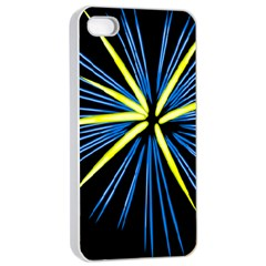 Fireworks Blue Green Black Happy New Year Apple Iphone 4/4s Seamless Case (white) by Mariart