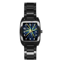 Fireworks Blue Green Black Happy New Year Stainless Steel Barrel Watch by Mariart