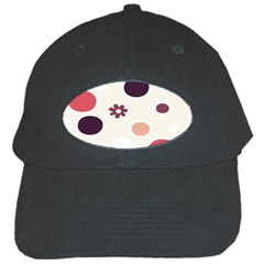 Polka Dots Flower Floral Rainbow Black Cap by Mariart