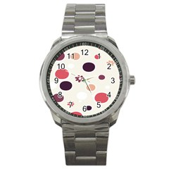 Polka Dots Flower Floral Rainbow Sport Metal Watch by Mariart