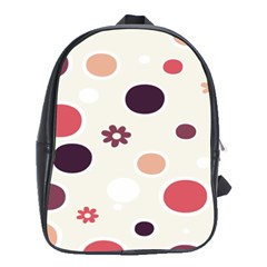 Polka Dots Flower Floral Rainbow School Bag (xl) by Mariart