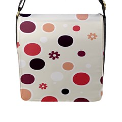 Polka Dots Flower Floral Rainbow Flap Messenger Bag (l)  by Mariart