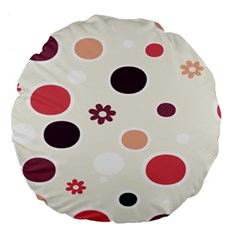 Polka Dots Flower Floral Rainbow Large 18  Premium Flano Round Cushions by Mariart