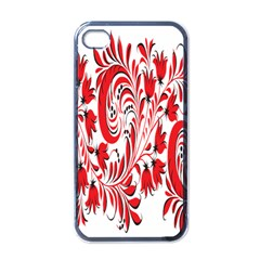 Red Flower Floral Leaf Apple Iphone 4 Case (black) by Mariart