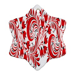Red Flower Floral Leaf Ornament (snowflake) by Mariart
