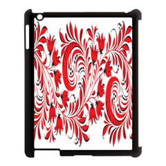 Red Flower Floral Leaf Apple Ipad 3/4 Case (black) by Mariart
