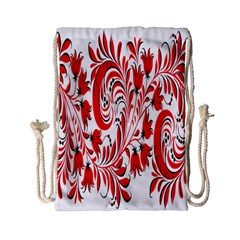 Red Flower Floral Leaf Drawstring Bag (small) by Mariart