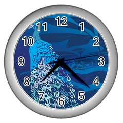 Peacock Bird Blue Animals Wall Clocks (silver)  by Mariart