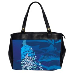 Peacock Bird Blue Animals Office Handbags (2 Sides)  by Mariart