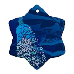 Peacock Bird Blue Animals Ornament (snowflake) by Mariart