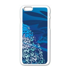 Peacock Bird Blue Animals Apple Iphone 6/6s White Enamel Case by Mariart