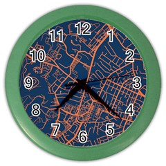 Virginia Map Art City Color Wall Clocks by Mariart