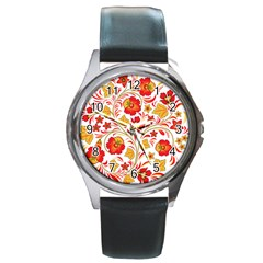 Wreaths Flower Floral Sexy Red Sunflower Star Rose Round Metal Watch by Mariart