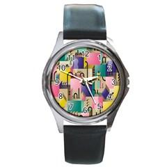 Magazine Balance Plaid Rainbow Round Metal Watch by Mariart
