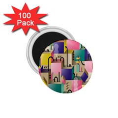 Magazine Balance Plaid Rainbow 1 75  Magnets (100 Pack)  by Mariart