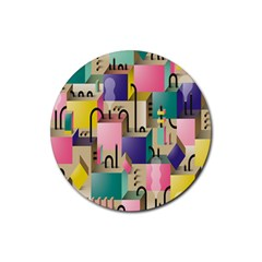 Magazine Balance Plaid Rainbow Rubber Round Coaster (4 Pack)  by Mariart