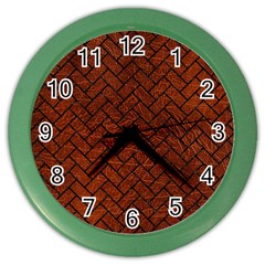 Brick2 Black Marble & Reddish Brown Leather Color Wall Clocks by trendistuff