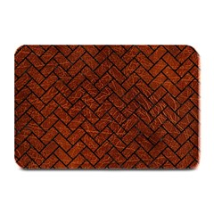 Brick2 Black Marble & Reddish Brown Leather Plate Mats by trendistuff