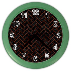 Brick2 Black Marble & Reddish Brown Leather (r) Color Wall Clocks by trendistuff