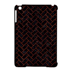 Brick2 Black Marble & Reddish Brown Leather (r) Apple Ipad Mini Hardshell Case (compatible With Smart Cover) by trendistuff