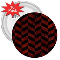 Chevron1 Black Marble & Reddish Brown Leather 3  Buttons (10 Pack)  by trendistuff
