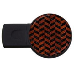 Chevron1 Black Marble & Reddish Brown Leather Usb Flash Drive Round (2 Gb) by trendistuff