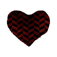 Chevron1 Black Marble & Reddish Brown Leather Standard 16  Premium Flano Heart Shape Cushions by trendistuff