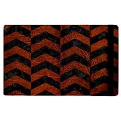 Chevron2 Black Marble & Reddish Brown Leather Apple Ipad Pro 12 9   Flip Case by trendistuff