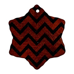 Chevron9 Black Marble & Reddish Brown Leather Snowflake Ornament (two Sides) by trendistuff