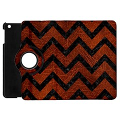 Chevron9 Black Marble & Reddish Brown Leather Apple Ipad Mini Flip 360 Case by trendistuff