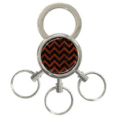 Chevron9 Black Marble & Reddish Brown Leather (r) 3 Ring Key Chains by trendistuff