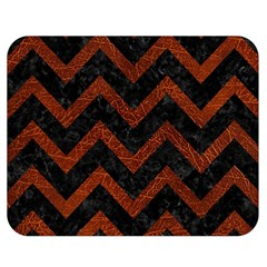 Chevron9 Black Marble & Reddish Brown Leather (r) Double Sided Flano Blanket (medium)  by trendistuff