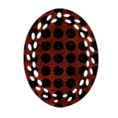 Circles1 Black Marble & Reddish Brown Leather Oval Filigree Ornament (two Sides) by trendistuff