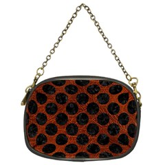 Circles2 Black Marble & Reddish Brown Leather Chain Purses (two Sides)  by trendistuff