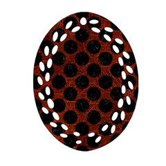 Circles2 Black Marble & Reddish Brown Leather Oval Filigree Ornament (two Sides) by trendistuff