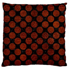 Circles2 Black Marble & Reddish Brown Leather (r) Standard Flano Cushion Case (two Sides) by trendistuff