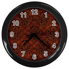 Damask1 Black Marble & Reddish Brown Leather Wall Clocks (black) by trendistuff