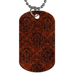 Damask1 Black Marble & Reddish Brown Leather Dog Tag (two Sides) by trendistuff