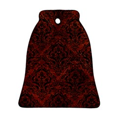 Damask1 Black Marble & Reddish Brown Leather Bell Ornament (two Sides) by trendistuff