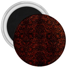 Damask2 Black Marble & Reddish Brown Leather 3  Magnets by trendistuff